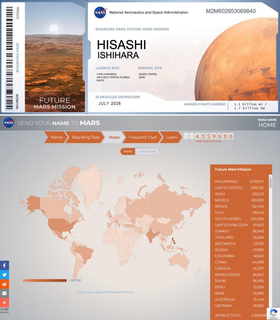 Mars 2026 Mission Boarding Pass